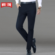 WOLF ZONE clothing casual pants classic business trousers mens slim fit dress winter