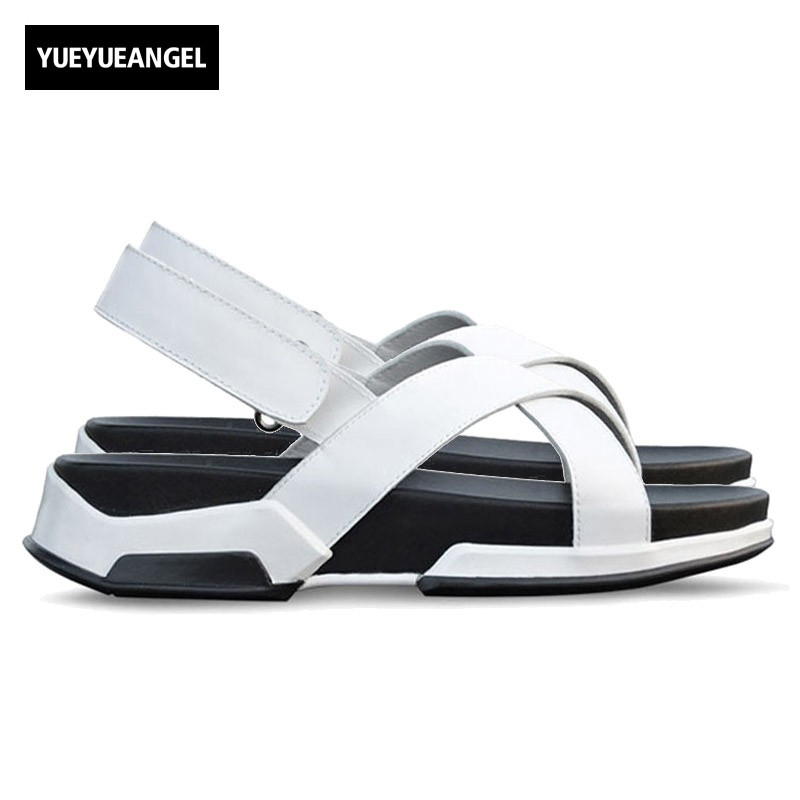 Italian Design New Mens Summer Leisure Straps Sandals Fashion Thick Platform Genuine Leather Beach Slippers Casual Shoes Male genuine leather mens casual sapatos shoes cross straps male runway sandals roman summer shoes flats 2018 man fashion leather