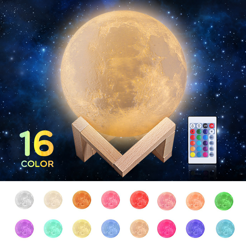 New Rechargeable 3D Print Moon Lamp 16 Color Change Touch+Slap Switch Bedroom Bookcase Night Light Home Decor Creative Gift