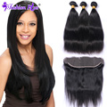 8A Fashion Plus Hair Brazilian Virgin Hair with Lace Frontal Closure with Bundles Straight 3 PCS with Lace Frontal Human Hair