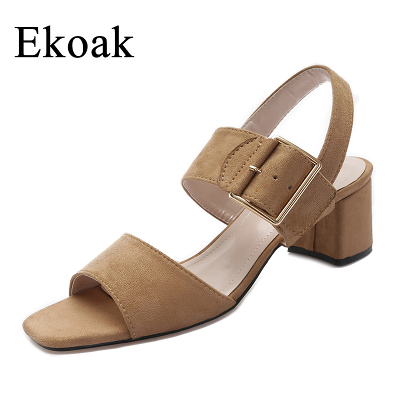Ekoak 2017 New Women sandals buckle strap summer shoes woman fashion Thick high heels sandals women Gladiator sandals xiaying smile summer new woman sandals platform women pumps buckle strap high square heel fashion casual flock lady women shoes