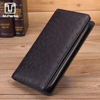 McParko Ostrich Wallet Men Clutch Wallet Purse Genuine Leather Card Holder Wallets for Male 2019 Luxury Brand Design Purse Long