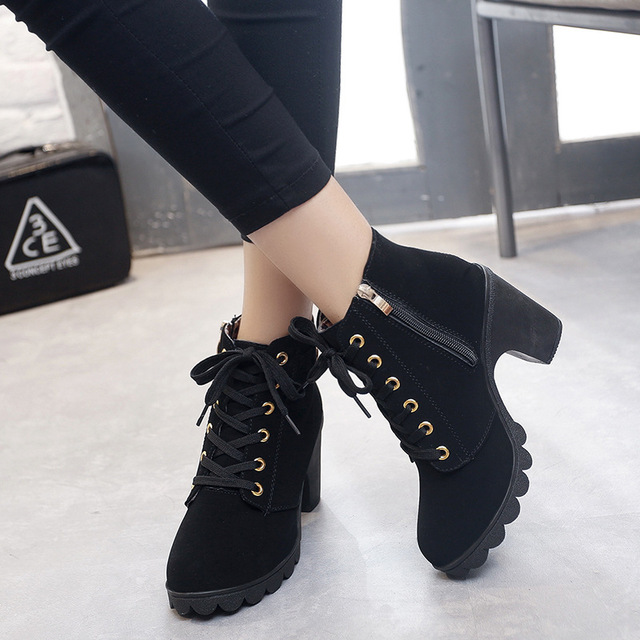 Women shoes 2018 Lace-up Ladies Platform high heel single shoes vintage women motorcycle boots martin boots woman ankle boots new 2016 brand platform high heel single shoes vintage women motorcycle boots martin boots size 35 39 free shipping 367