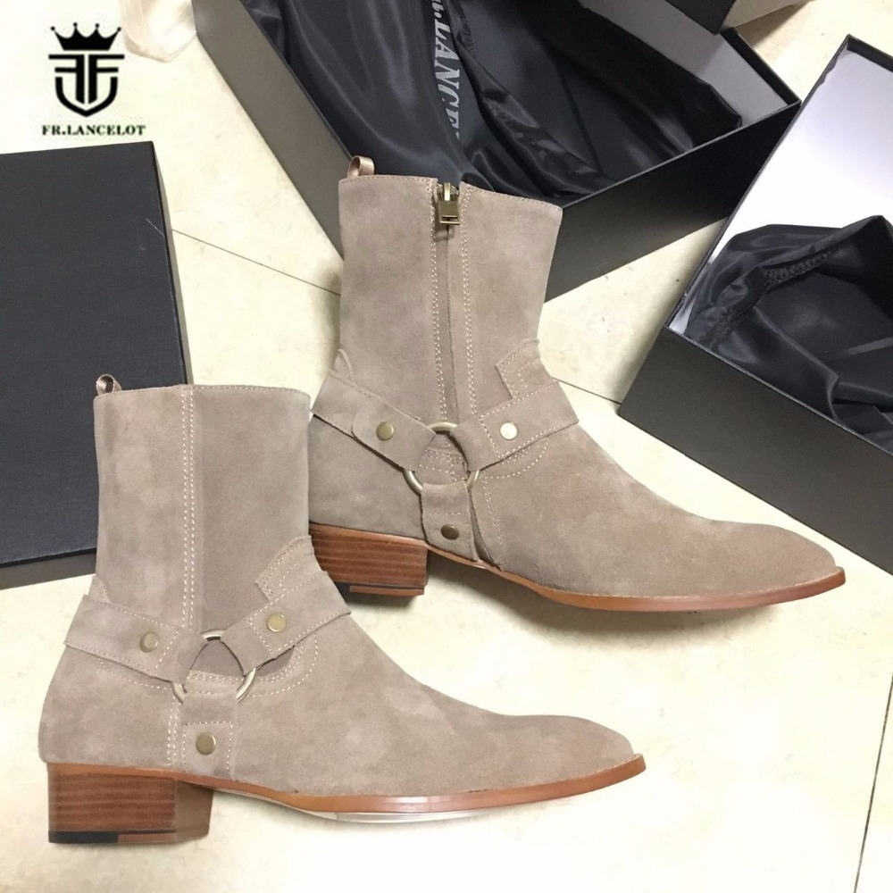 2018 Men's Exclusive Handmade Luxury High Top Ankle Strap Chelsea Suede Tan Boots Wyatt Catwalk Wedge Pointed Toe West Boots new top grade gift pure tan wooden type h chun tan mu shu h kuan