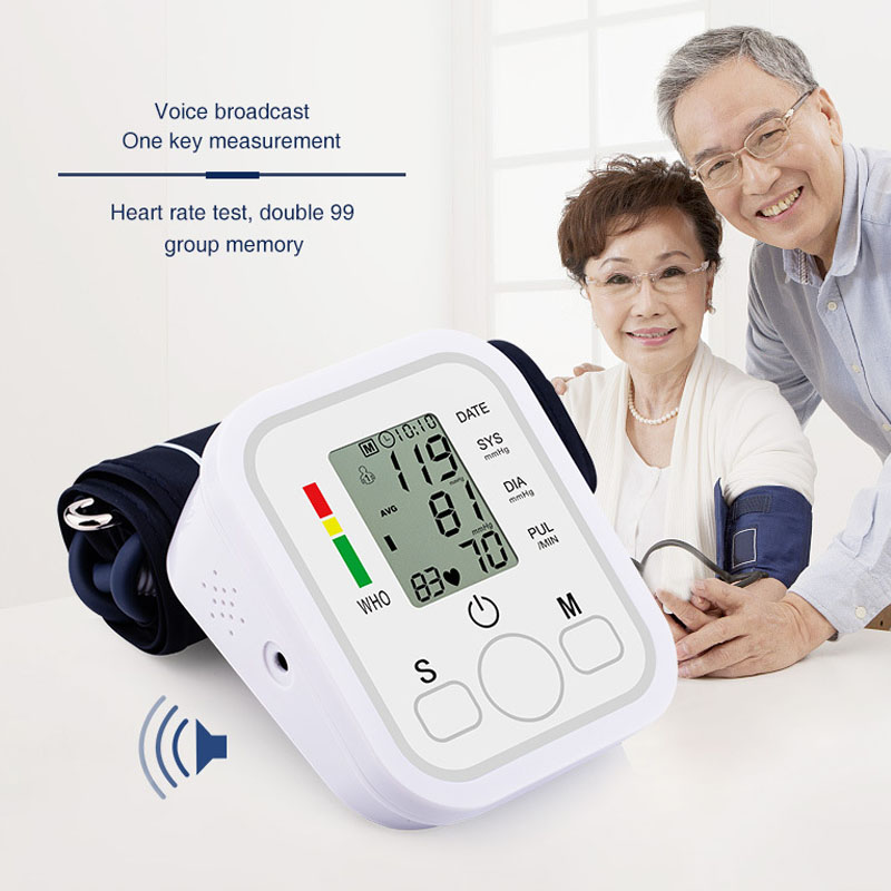 Smart Voice Digital Pulse Arm Blood Pressure Monitor Tonometer Pressuring Household Sphygmomanometer Apparatus Measuring Monitor