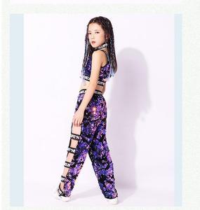 Image 3 - Girls Sequins Hip hop Jazz Stage Dance Costume Street  Dancing Crop Tops Pants Outfits Kids Dancewear Purple