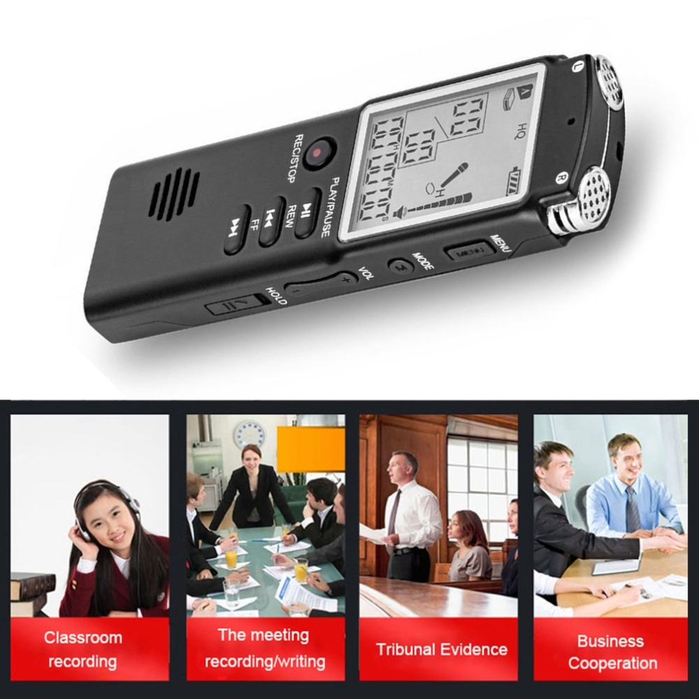 LESHP Portable Digital Voice Recorder 16G USB 2.0 LCD Display Audio Voice Recording Dictaphone Lossless MP3 Player