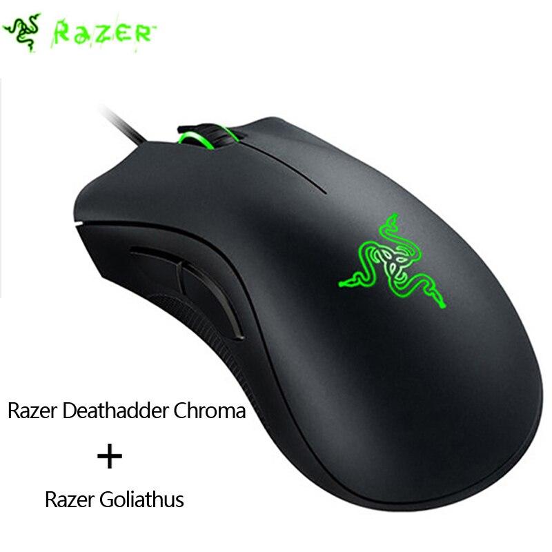 bilder für Razer DeathAdder Chroma 10000 dpi Multi-color Ergonomische Gaming Maus USB Verdrahtete rechten LED Spiel Mäuse + Razer Goliathus