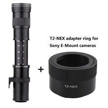 Lightdow 420-800 мм F8.3-16 супертелеобъектив ручной зум-объектив + T2-NEX переходное кольцо для Sony E- Крепление камеры NEX6 A6000, A7, A7R