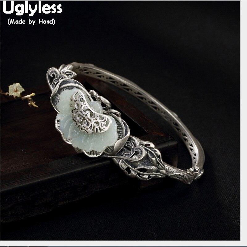 Uglyless 100% réel 925 argent feuille Bijoux ensembles pour femmes Thai argent bracelets Jade papillon pendentifs broche ethnique anneaux Bijoux