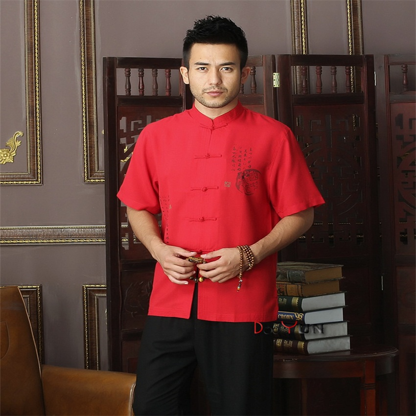 New Arrival Red Chinese Mens Cotton Mandarin Collar Kung Fu Shirt Top Novelty print Tang Shi Tang Suit Size S M L XL XXL XXXL
