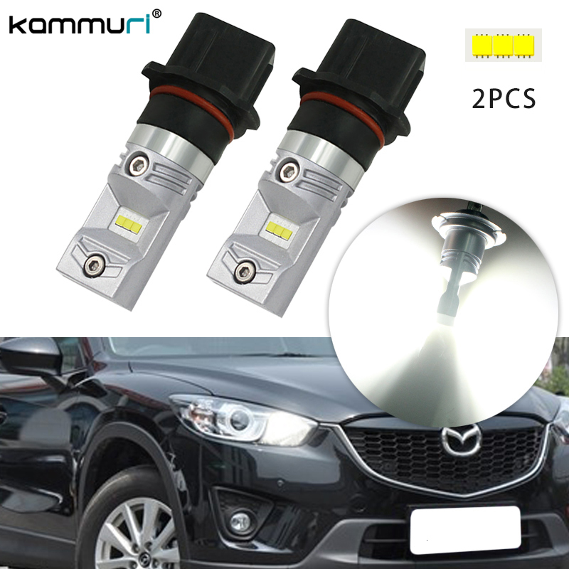 P13W PSX26W White LED Bulbs For Mazda CX5 on High Beam DRL Running Lights DRL 2pcs KAMMURI meziere wp101b sbc billet elec w p