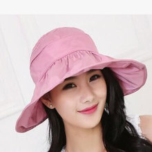 купить New Fashion Brimmed Sun Hats Foldable Women Sunhats Self-tie Solid Hat Summer Beach Floppy Cap Headwear дешево