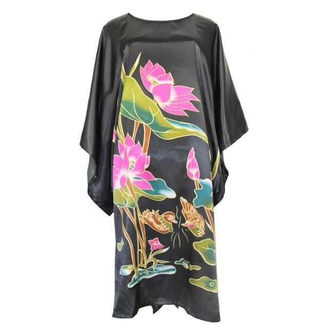 Hot Pink Sexy Female Robe Dress Loose Casual Nightgown Rayon Nightdress Bathrobe Chinese Women Flower Kaftan Gown Plus Size