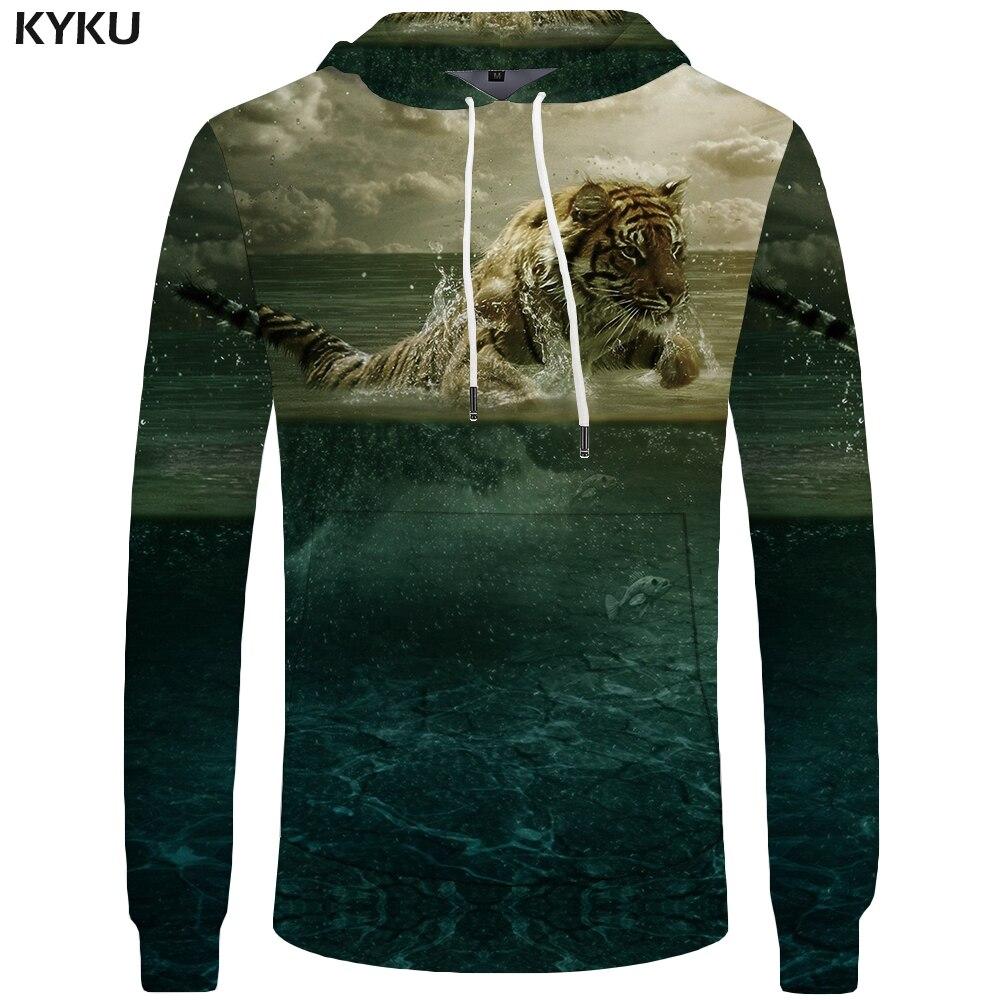 KYKU Brand Tiger Hoodies Men Water Sweatshirts Cloud Sweatshirt Animal Pocket Hoddie Big Size 3d Hoodies Cool Funny Print