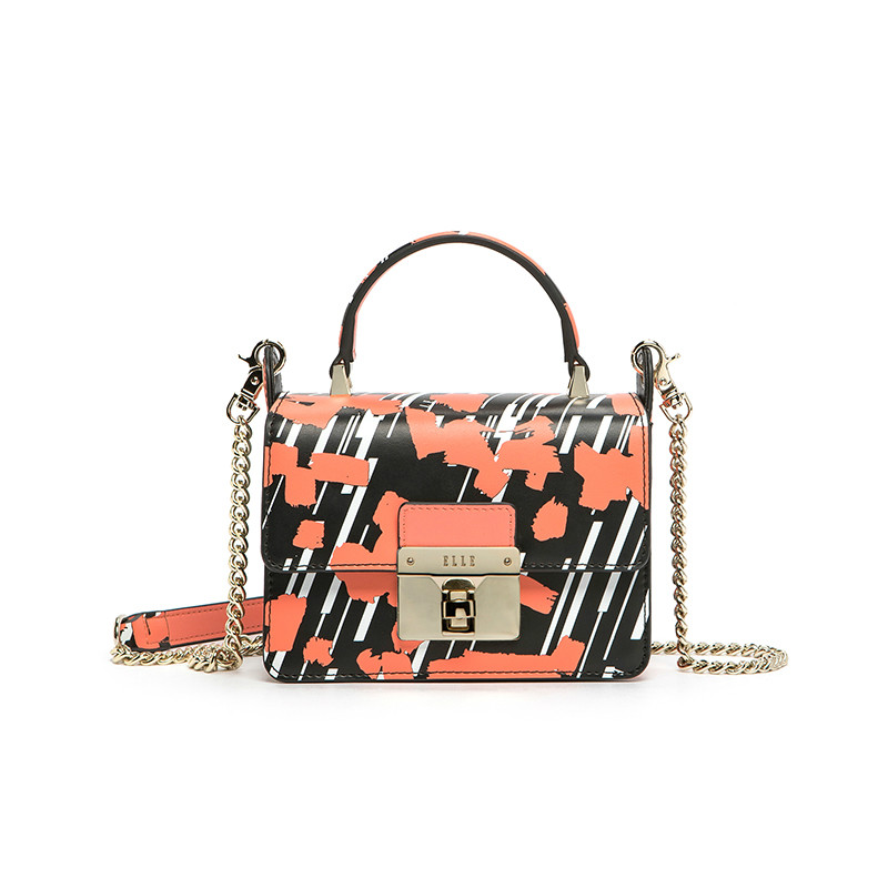 bags for women 2018 New Oblique Satchel Fashion Printed Single-shouldered Chain Bag Women Leather Handbags classic printed round decorated faux leather chain bracelet for women