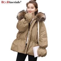 Winter Women's Warm Down Jacket With Fur Collar Adjustable Waist Hooded White Duck Down Coat Female Thick Parka Outwear YR104