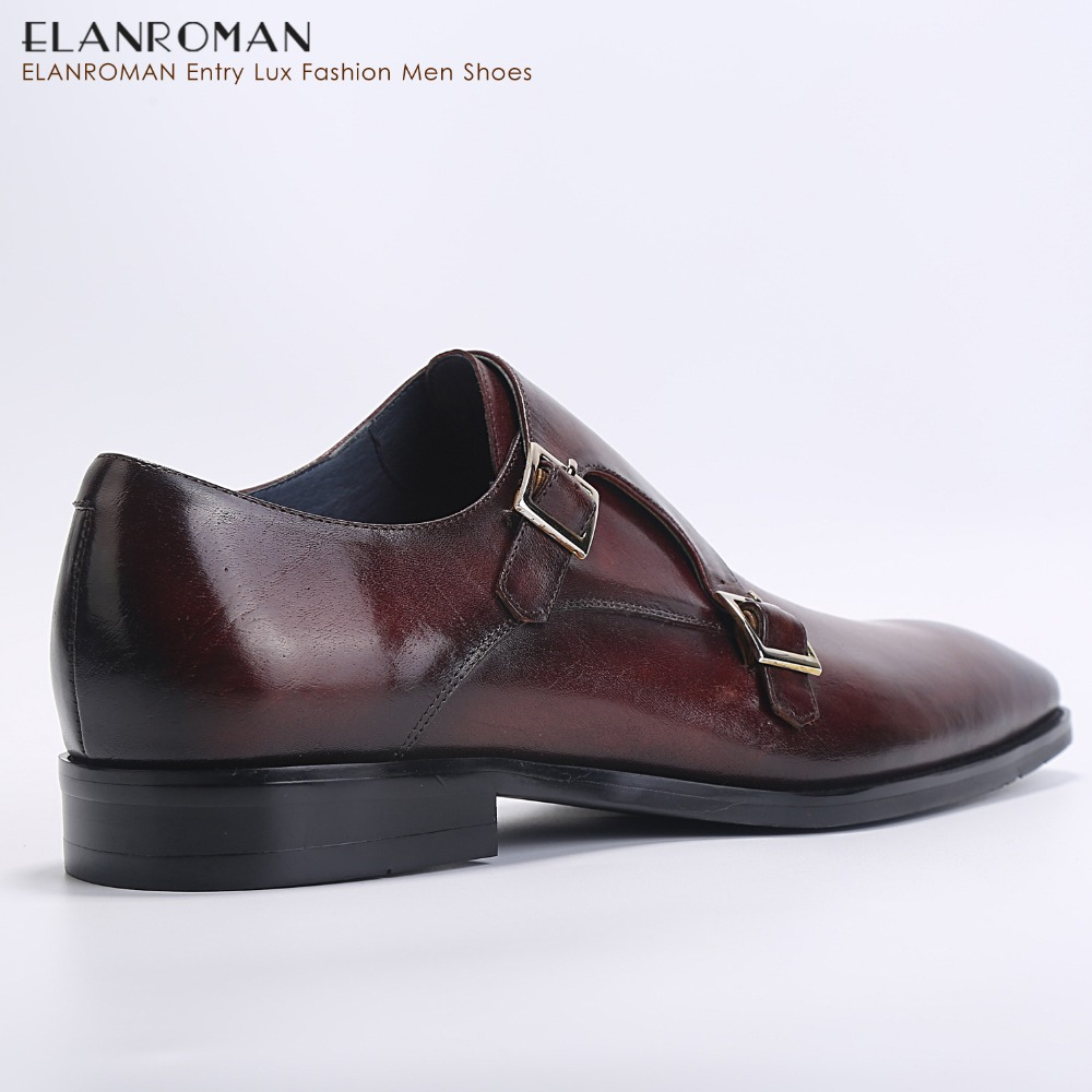 ada996227fea5 ELANROMAN Men Dress Shoes Luxury Brand New fashion Double Monk Strap Height  Increase Handmade Ital Men Formal Shoes