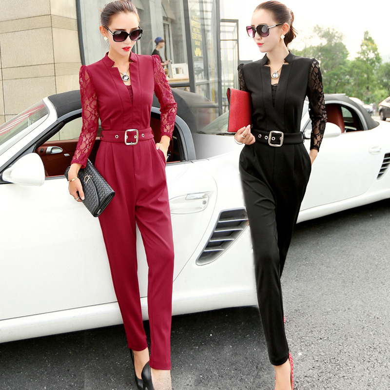 New 2016 Spring Fashion Women Jumpsuits Rompers Hot Sale Casual Elegant Rompers Lace Sleeve Female Jumpsuit
