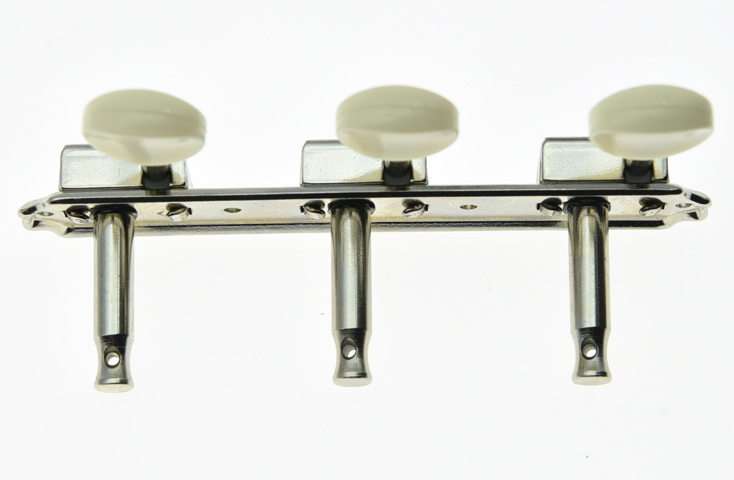 Купить с кэшбэком KAISH Nickel w/ Ivory Vintage 3 on a Plate 3x3 Guitar Tuning Keys Tuners for LP SG JR