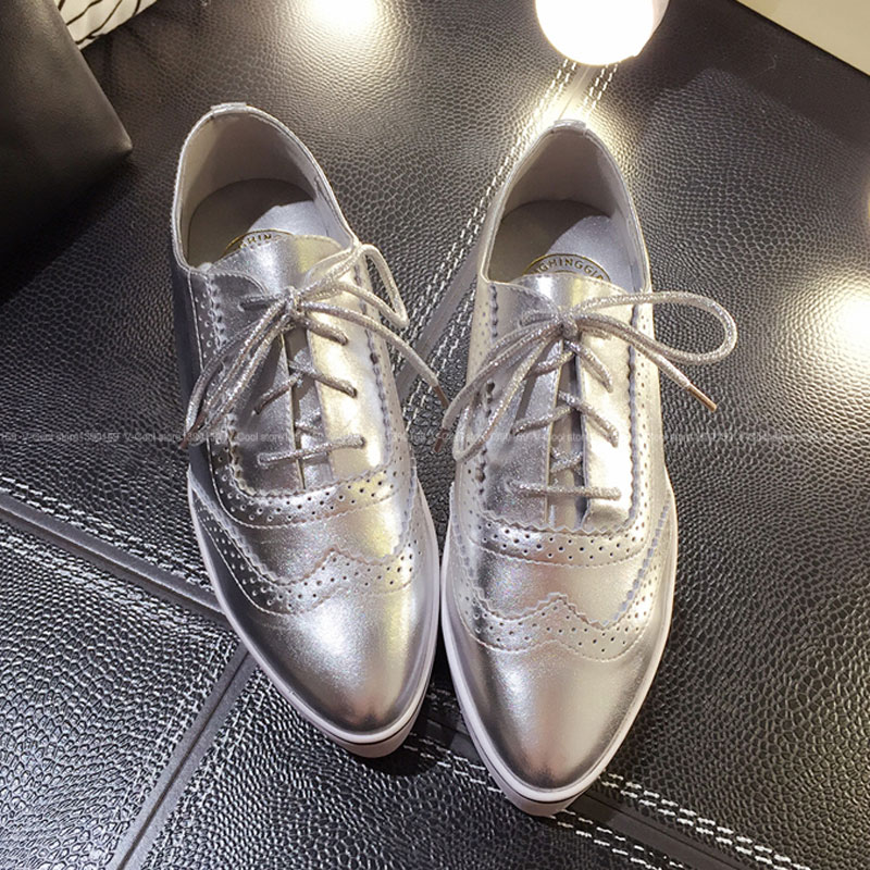 2017 Oxford Shoes Woman Female Luxury Casual Oxford Genuine Leather Oxford Shoes For Women Black White Silver Tenis Feminine cangma superstar italian luxury brand shoes for woman genuine leather women casual orange silver classic shoes schoenen vrouwen