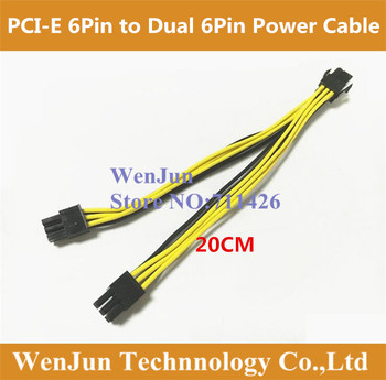 Free Shipping 6Pin female to Graphics Video Card Double PCI-E PCIe 6Pin & 6Pin dual male Power Supply Splitter Cable 16AWG Wire