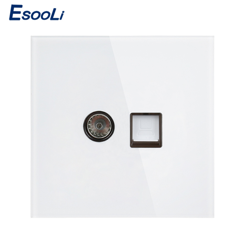 Esooli White Luxury Crystal Tempered Glass Panel RJ45 Internet Jack With TV Outlet Wall Data Computer Socket