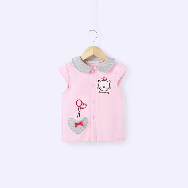 Dos bebés do sexo feminino vest2016spring novo colete colete de primavera crianças acolchoado colete 0 - 2 anos de idade do bebê cardigan casaco 100% algodão