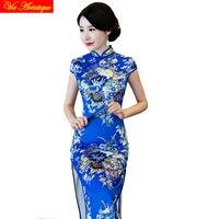 Chiński tradycyjny strój nowoczesne długa suknia ślubna strona mermaid formalne haut cheongsam qipao wydrukowano floral red dress 2018 wiosna
