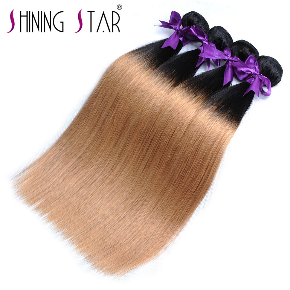 T1B 27 Honey Blonde Ombre Brazilian Hair Weave Bundles Straight Human Hair Weave Ombre 1Pcs Lot Shining Star Non Remy Fast Ship