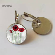 Baru Merah Poppy Seni Anting-Anting Buatan Tangan Round Glass Dome Bidang Poppies Bunga Stud Anting-Anting Grosir(China)