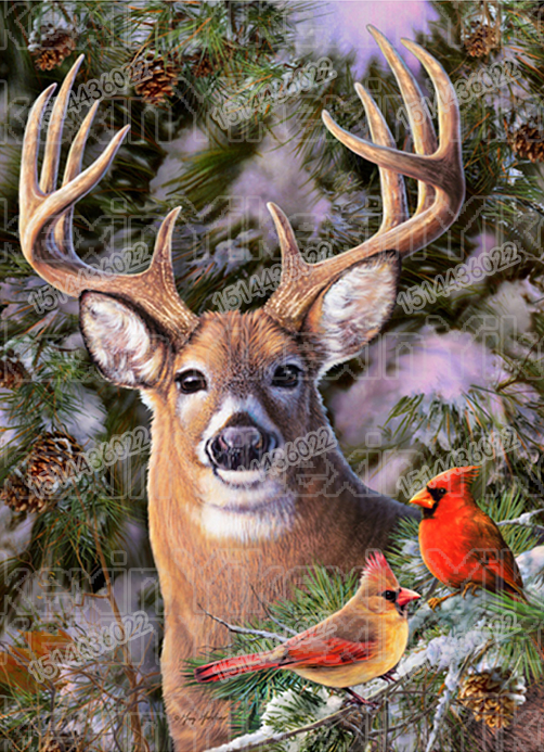 Diamond Embroidery Winter Deer Painting Of Rhinestone Full Circular Diamond Circular Needlework Handmade Children Gift