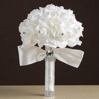 MissRDress Искусственный Свадебный букет из роз простой пенопластовый Свадебный букет белые атласные свадебные цветы для свадебных аксессуаро...