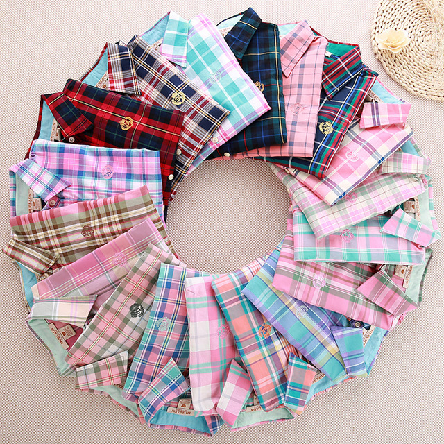 WomensDate 2017 Весна Осень Женщины Классический Плед Блузка Рубашки Женщины Отложным Воротником С Длинным Рукавом Блузки Рубашки Blusa Camiseta
