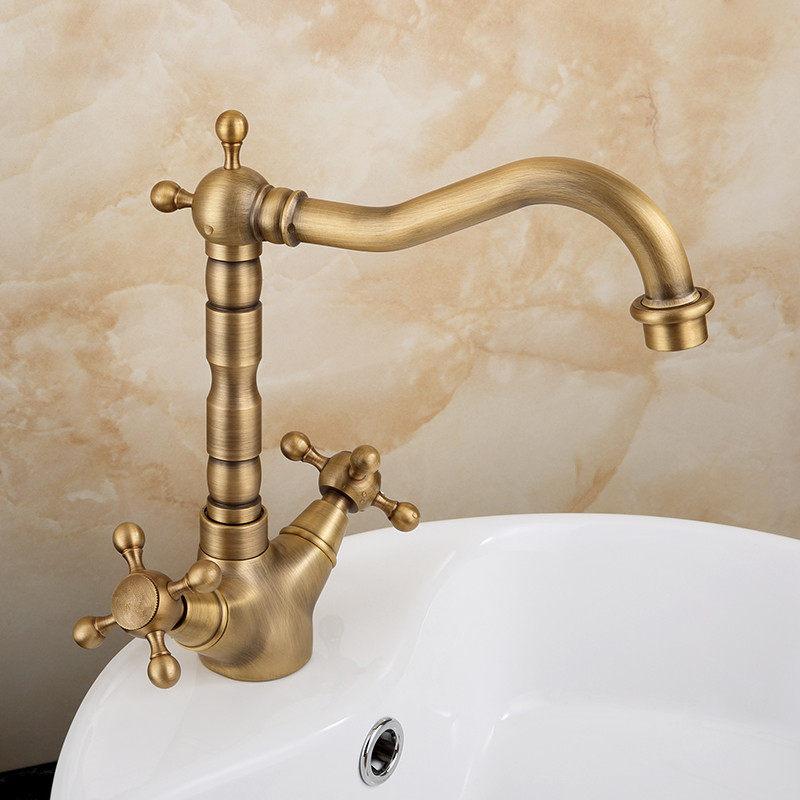 Basin Faucets Antique Brass Bathroom Sink Faucet  Dual Handle 3 Hole Kitchen Sink Mixer Taps 360 Degree Rotation Wash Basin TapBasin Faucets Antique Brass Bathroom Sink Faucet  Dual Handle 3 Hole Kitchen Sink Mixer Taps 360 Degree Rotation Wash Basin Tap