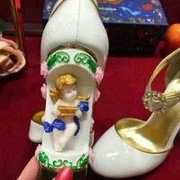Ручной работы Осенняя обувь ретро Керамика Ангел Кожаные туфли лодочки прозрачной пряжкой Розовый Роскошные Белая Свадебная обувь Для жен