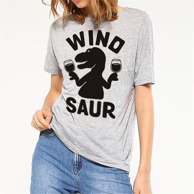 Strick WT0096 Rotwein Dinosaurier Frauen Punk T-shirt Damen Lustige Drucken Tops