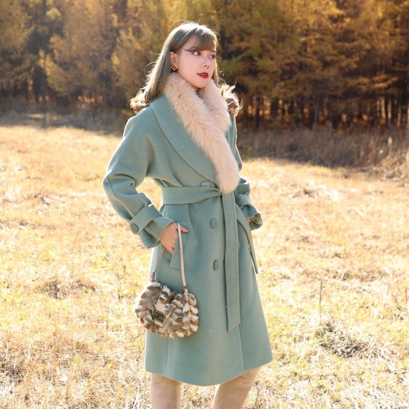 Woolen Original Winter Herbst Mäntel Lose Frauen Mit Design Lynette Chinoiserie Gürtel wO0xpp
