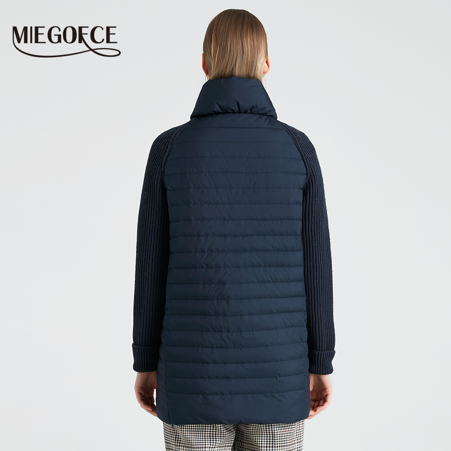 Image 4 - Miegofce 2019 봄과 가을 여성 코트 스탠드 칼라 짧은 코트 여성 얇은 windproof 니트 슬리브 따뜻한 자 켓베이식 쟈켓   -
