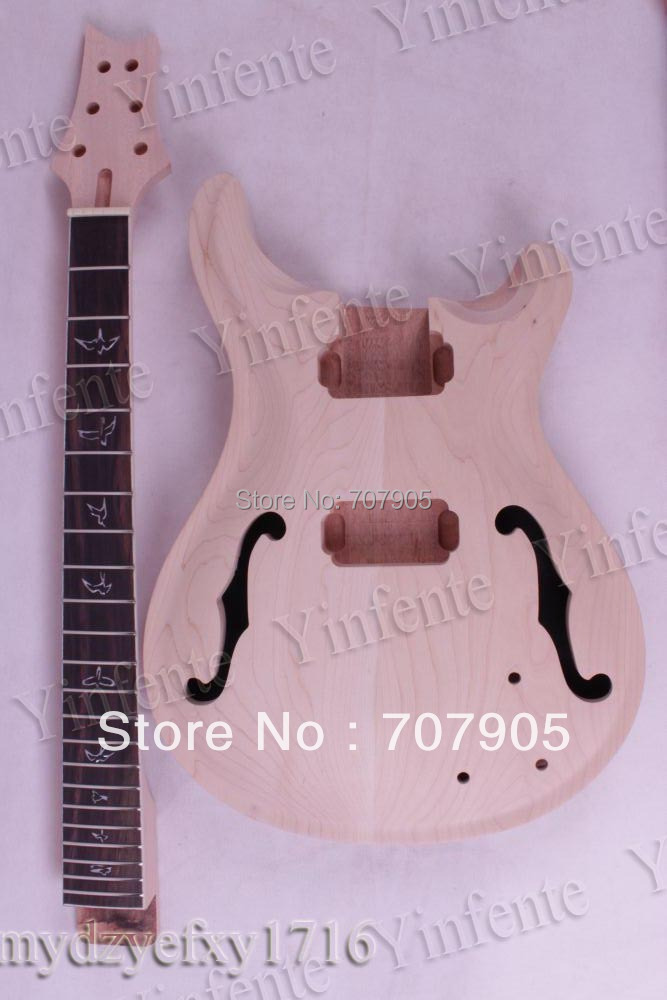 1 set New Unfinished electric guitar neck Mahogany & Body Solid wood custom shop electric guitar kit nature wood grain finish solid mahogany guitar body for sale