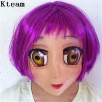 2018 Female Sweet Girl Half Head Kigurumi Mask With BJD Eye cartoon Cosplay Japanese Anime Role Lolita Mask Crossdress Doll mask