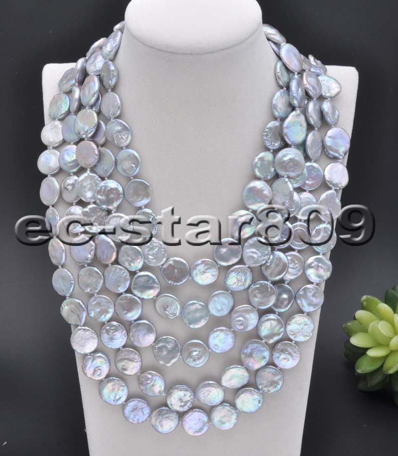 "100"" 15mm Gray coin freshwater pearl necklace"