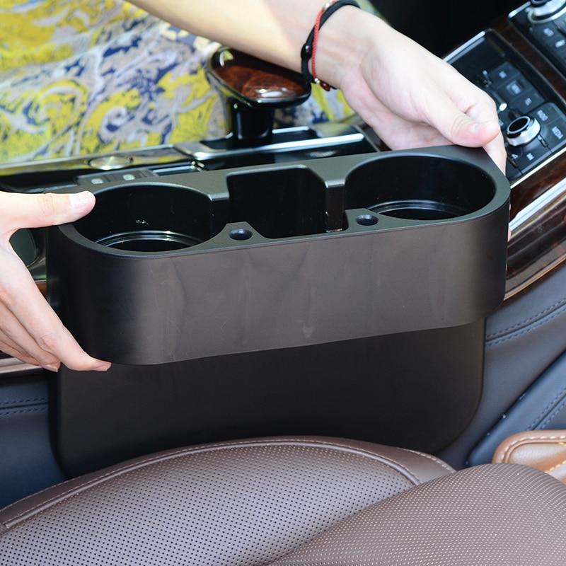 2Pc Black Car Auto Accessories Phone Holder Organizer Seat Seam Storage Box Bag