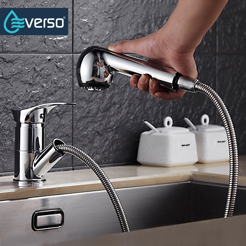 EVERSO 360 Degree Swivel Pull Out Kitchen Faucet Water Saving Polished black Basin Mixer Brass Tap