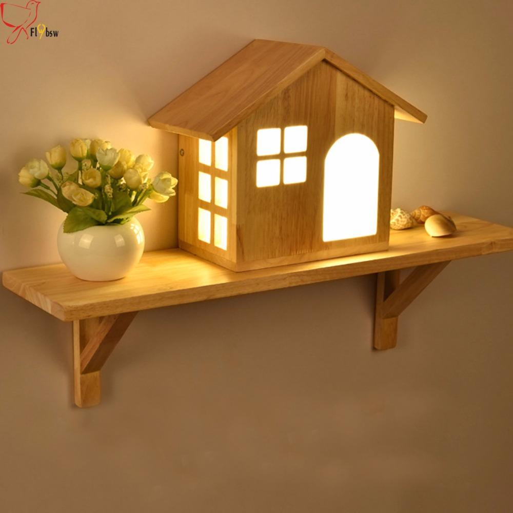 Nordique vintage solide lampe de mur en bois en bois maison forme abat jour