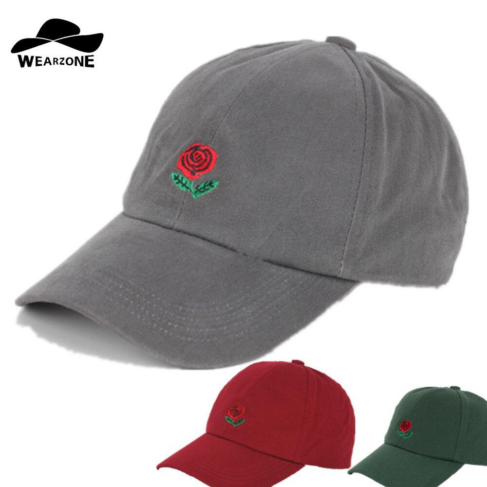 2017 Ete Nouvelle Fleur Rose Broderie Courbe Casquettes De Baseball