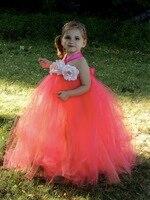 Little Girls Cam Tutu Dài Ăn Mặc Trẻ Em Crochet Vải Tuyn Váy Bóng Gown với Rose Flower Headband Trẻ Em Evening Dresses Đảng