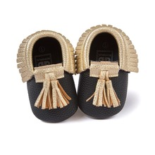 black PU Suede Leather Newborn Baby Boy Girl Baby Moccasins Soft Moccs Shoes Bebe Fringe Soft Soled Non-slip Footwear Crib Shoe