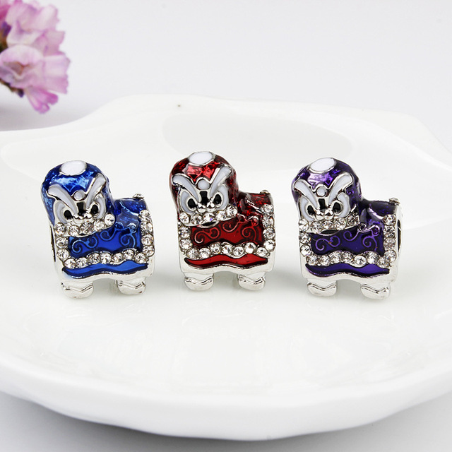 b04345349 free shipping 1pc silver red purple blue chinese lion dance big hole bead  charm Fits European Pandora Charm Bracelets M020