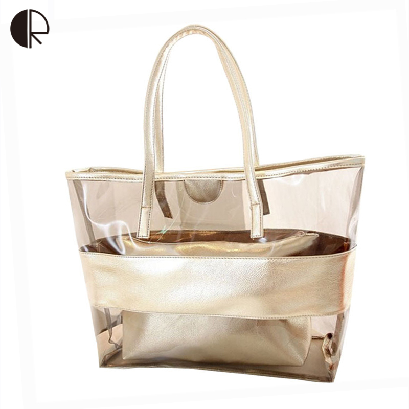 New Women Color Block Transparent Bags Summer Package Beach Bag Jelly Bag Crystal Bag Shoulder Women's Handbag BS436